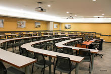 Photo of classroom C121 Pappajohn Business Building