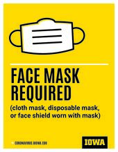 Sign stating that face masks are required