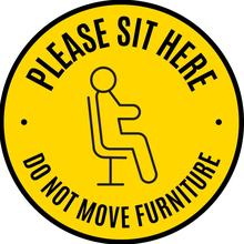 Image of Sit Here sign
