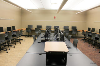 Photo of classroom W240 Adler Journalism Building